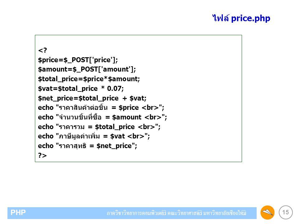 ไฟล์ price.php < $price=$_POST[ price ]; $amount=$_POST[ amount ];
